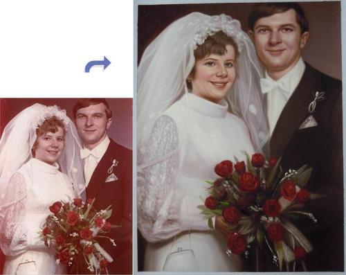 Custom wedding portrait, wedding painting, Hand painted oil painting, portrait painting from photos