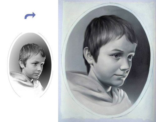 Custom children portrait, Hand painted oil painting, Oil portrait painting from photos