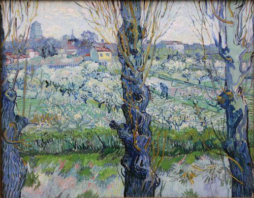 View of Arles, Flowering Orchards, 1889, Neue Pinakothek