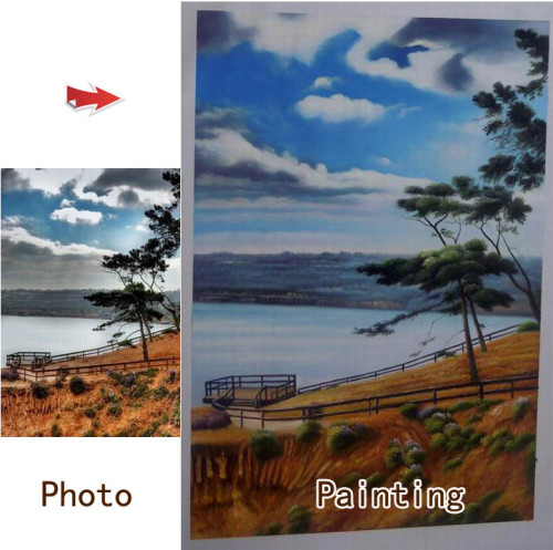 Custom landscape portrait, Landscape painting, Hand painted oil painting on canvas, Turn photos into oil portraits paintings