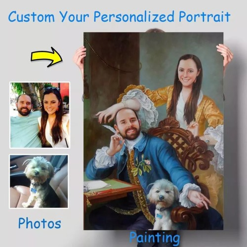Custom Wedding portrait, Hand painted oil painting on canvas, Turn photos into oil portraits paintings