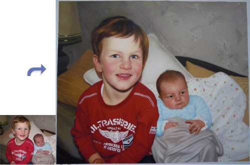 Custom children portrait, Hand painted oil painting on canvas, Turn photos into oil portraits paintings