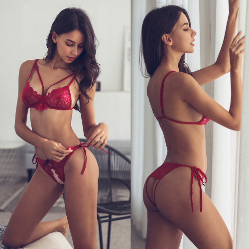 Red Lingerie Bra and G-String Set(2 Sets)