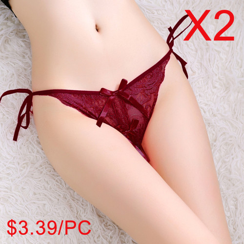 Sexy Underwear Fun Lace-edged Tied Underwear(2 Sets)