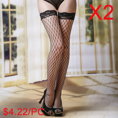 Fishnet Thigh Highs with Lace Top(2 Sets)