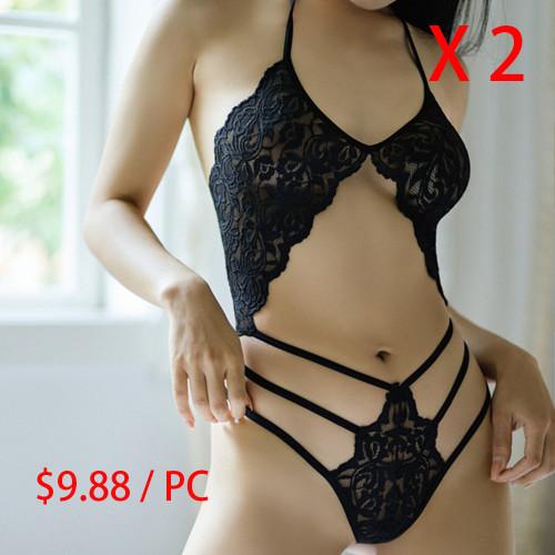 Allure Black Bandeau Lace Bralette Set