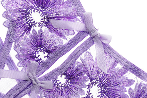 Purple Floral Lace Bra Set