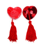 Heart-Shaped Sequins Silicone Nipple Sticker(2 Sets)