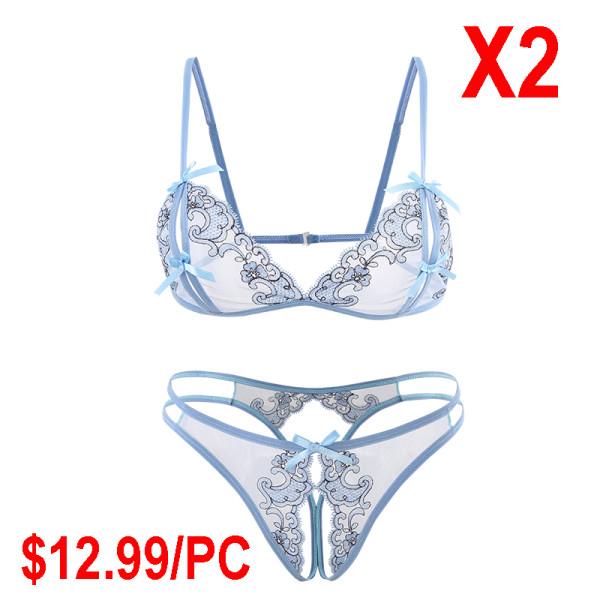 Blue lace flower underwear set