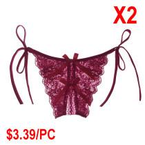 Sexy Underwear Fun Lace-edged Tied Underwear(2 Sets)