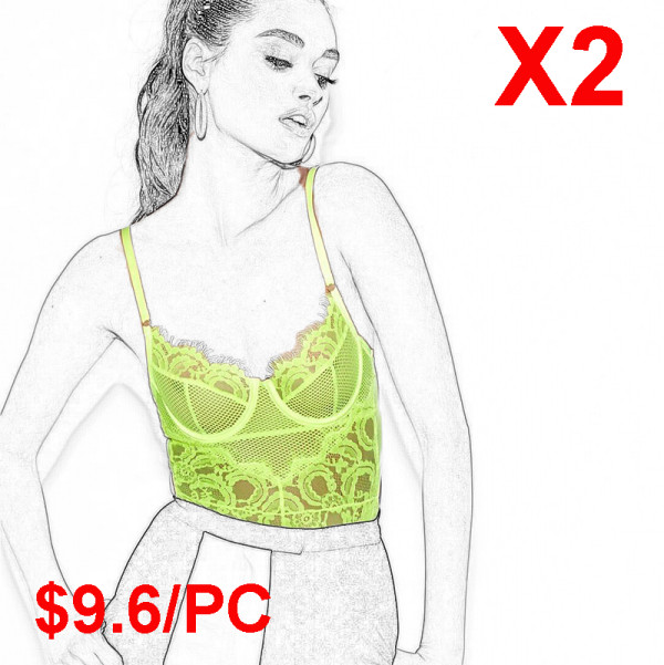 Fluorescent color conjoined sexy underwear(2 Sets)