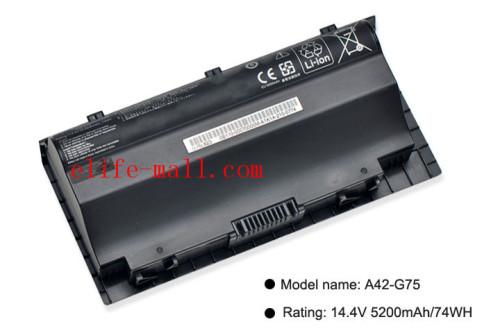 A42-G75 Laptop Battery For G75 G75V G75VM G75VW 3D G75VX A42-G75 G75VW-TS71 14.4V 5200mAh 74WH