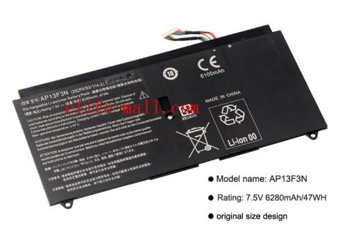 AP13F3N Laptop Battery for Aspire S7-392 S7-392-9890 S7-391-6822 Ultrabook AP13F3N 2ICP4/63/114-2 7.5V 6280mAh/47WH