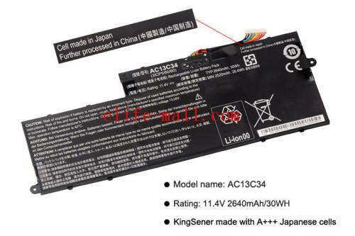 New AC13C34 Laptop Battery For Acer Aspire V5-122P V5-132 E3-111 E3-112 ES1-111M MS237 KT.00303.005 11.4V 2640mAh/30WH