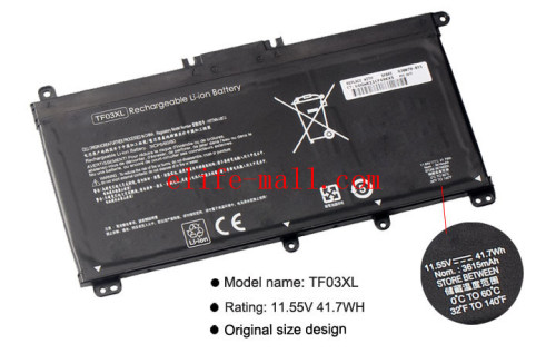 11.55V 61.6WH TE03XL Laptop Battery For HP TPN-Q173 HSTNN-UB7A 115-bc011TX 15-bc012TX 15-bc013TX 15-AX015TX 849910-850