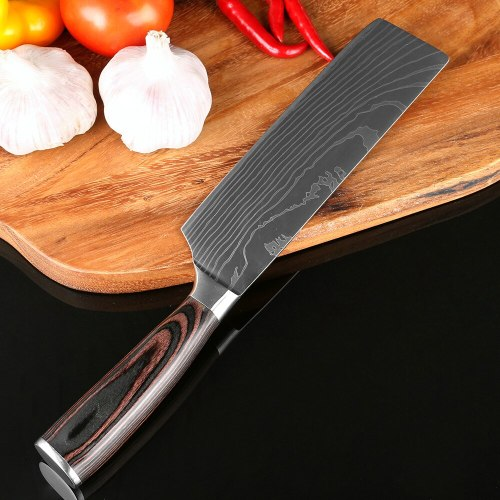 7''Japan Santoku Chef Knife Durable Stainless Steel Imitate Damascus Pattern Utility Vegetable Knives Comfortable Handle
