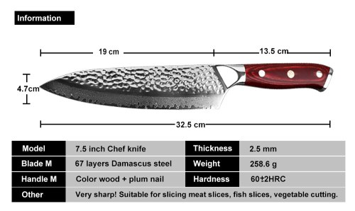7.5 In Damascus Chef Knife Handmade Forged 67 Layer Damascus Steel Blade Kitchen Cleaver Sashimi Knife with Black Gift Box