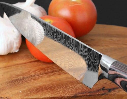 8  Professional Chef Knife Japanese Stainless Steel Santoku Kitchen Damascus Laser pattern Vegetable slice meat cleaver CN