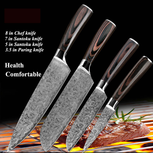 stainless steel  kitchen knives Japanese Damascus Pattern chef knife sets Cleaver Paring Santoku Slicing utility tool