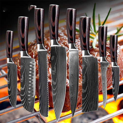 8 inch japanese kitchen knives Laser Damascus pattern chef knife Sharp Santoku Cleaver Slicing Utility Knives tool EDC