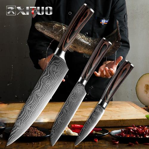8 5 3.5  Japanese chef knife set 3 pcs Damascus steel Pattern kitchen knives sets Cleaver Paring Santoku Slicing utility