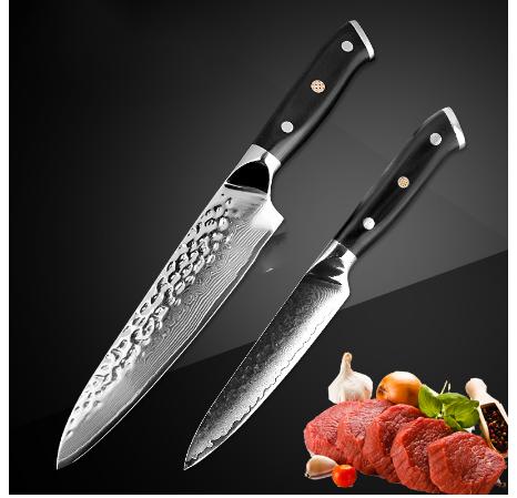 Brand VG10 Damascus Steel Knife 2 Pcs Set Black G10 Handle Japanese Steel Kitchen Knife Hot Sale Professional Knives Sets