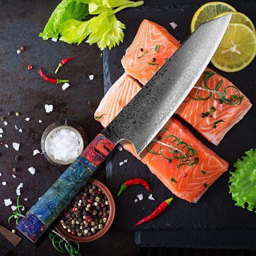 Chef's Nakiri Knife 67 Layers Japanese Damascus Steel Damascus Chef Knife 8 Inch Damascus Kitchen Knife Solidified Wood HD