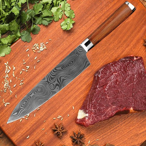stainless steel chef knife laser Damascus pattern fashion cleaver vegetable fruit Utility japanese kitchen cooking tools