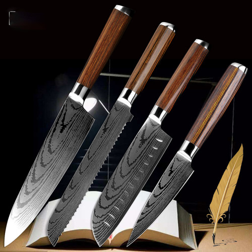 8 inch Chef Knife 7  Japanese Santoku Frozen Knife Bread knife serrated 3.5  Paring Tool Utility New Non-stick Knives Wood