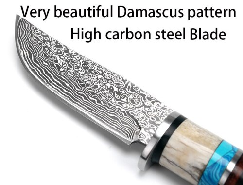 High carbon steel Handmade Damascus pattern Fixed blade knife survival tactical pocket knife antler handle Leather sheath