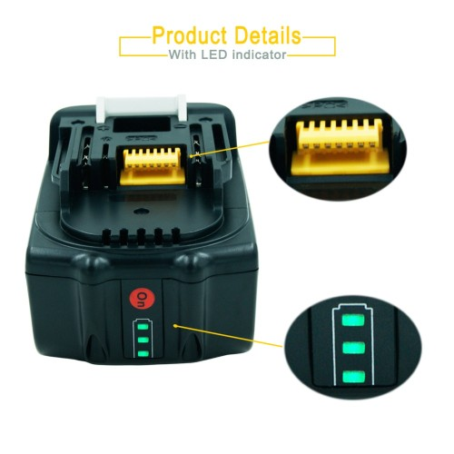 18V 5000mAH Replacement Battery for Makita LXT Lithium-Ion Power Tools BL1850 BL1830 BL1840 BL1815 194309-1 with LED Indicator