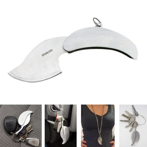 Stainless Steel fold leaf ring knife tool Silver keychain Mini Outdoor key chain Camp Survive keyring portable hike Pocket kit
