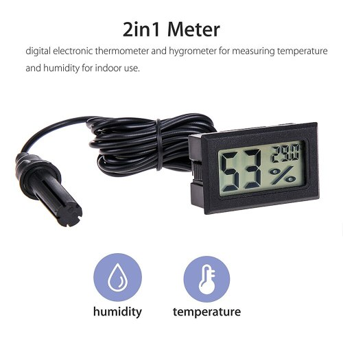 Digital Thermometer Hygrometer Mini LCD Humidity Meter Freezer Fridge Thermometer for -50~70 Coolers Aquarium Chillers