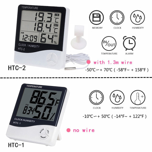 LCD Electronic Digital Temperature Humidity Meter Indoor Outdoor Thermometer Hygrometer Weather Station Clock HTC-1 HTC-2