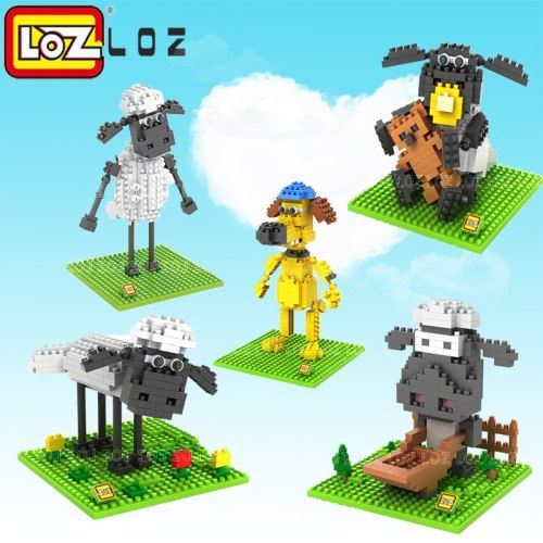 LOZ Blocks Diamond Building Blocks toys  Action Figure  the Sheep  3D Bricks Quiz  Gift Toy Particles Assembled Blocks For kids