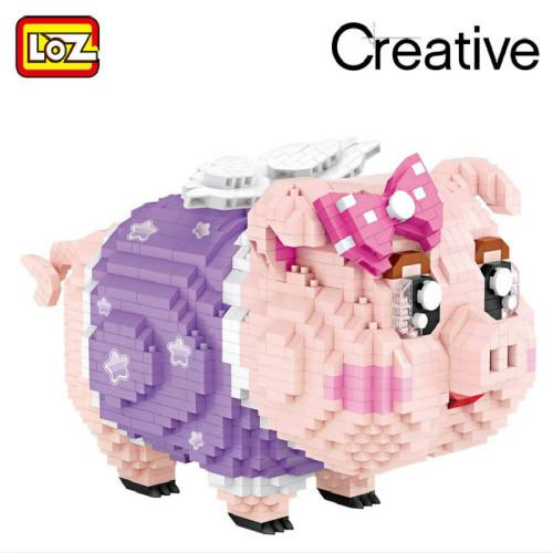 New LOZ Diamond Blocks Piggy Bank Pig Toys Children Building Blocks Model Bricks Educational Creative Girl Boy Gift 9042