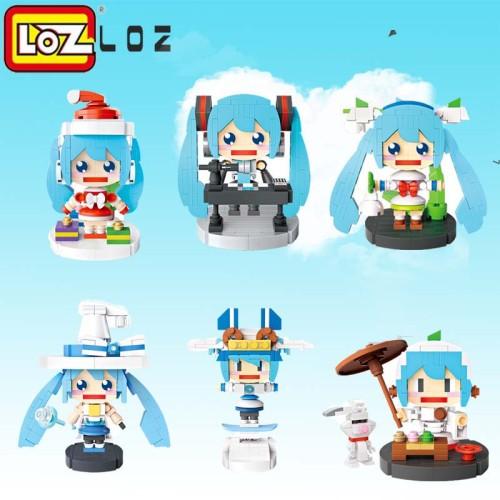 LOZ  Musical Tea Art Christmas Skating Magic Miku Mini Action Figure Building Blocks Toys DIY Model Toys for Children