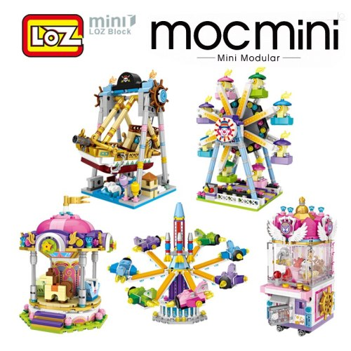 LOZ Mini Amusement Park Building Blocks Toy Rotary Aircraft Merry-go-round UFO Catcher Offical Authorized Distributer Child Gift