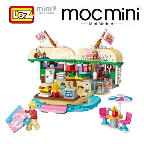 LOZ Hamburger Store Mini Building Blocks Figurines Miniature Model Toy Birthday Gift Souvenir For Children Girls Women