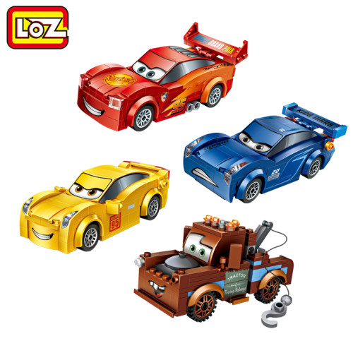 LOZ Racing Car Lightning Storm Trailer Mini Building Blocks Figure Toy Assemblage Toys For Children Gift