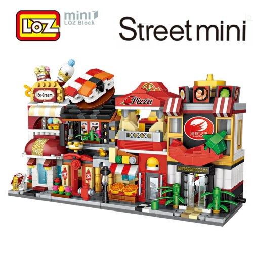 LOZ Mini Street Town Pizza Sushi Bar Ice cream Shop Restaurant Building Blocks Figure Toy For Children Age 6+ Offical Authorized