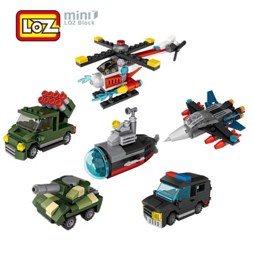 LOZ Building Blocks Toy War Mini Police Tank Submarine Helicopter Vehicle Building Blocks Car Model 6pcs/set Gift For Children