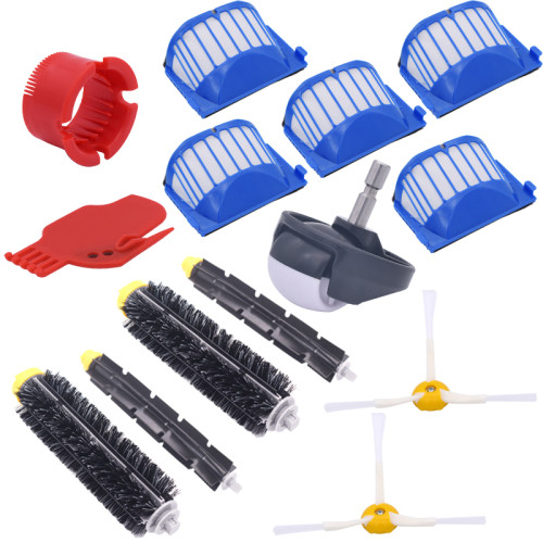 Brushed and flexible impact brush 3 Armed brush Aero Vac filter kit for iRobot Roomba 600/620/630/650 vacuum cleaner accessories