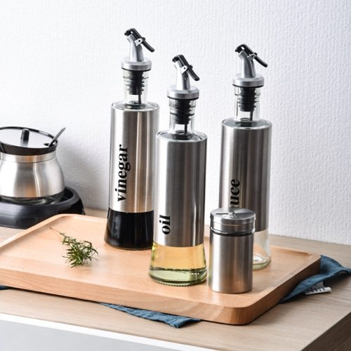 300ML Olive Oil Bottle Kitchen Glass Stainless Steel Leak-Proof Oil Bottle Soy Sauce Vinegar Cruet Bottle Kitchen Cooking Tools