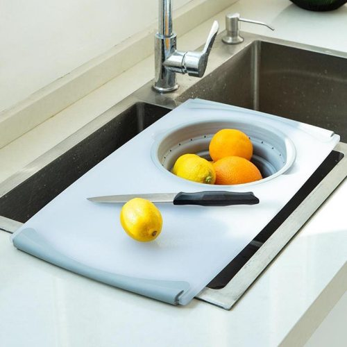 3-in-1 Multi-Function Food Chopping Board Detachable Folding Silicone Drain Basket Vegetable Antibacterial Cutting Kitchen Tool