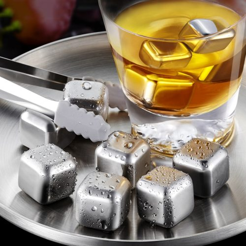 8PCS 304 Stainless Steel Ice Cube Reusable Cooling Stone For Vodka Whiskey Stone Whiskey Beer Summer Drink Cooling Accessories