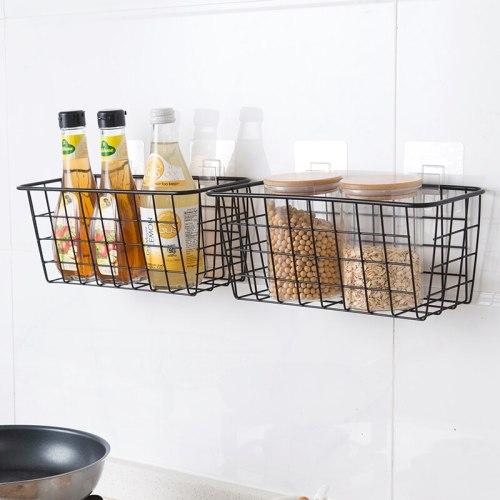 Home Kitchen Storage Hanging Basket Desktop Art storage Basket Bathroom Storage Box Sundries Wall Organizer Rack +Suction Cup