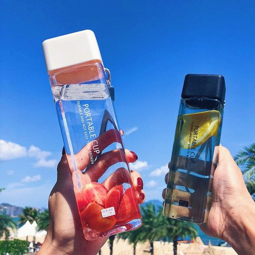 New 500ml Milk Fruit Water Cup Cute Square Tea For Water Bottles Drink With Rope Sport Heat Resistant Simple Transparent Cup