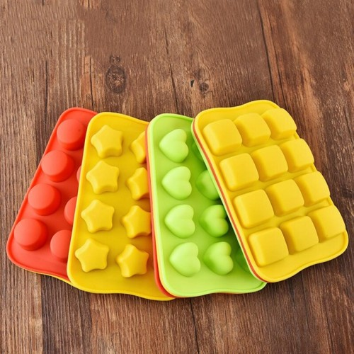 Silicone Chocolate Molds Baking Tool Non-stick Cake Candy 3D Mold Creative Star Heart Round Square Shaped Ice Cube Cake Mold DIY