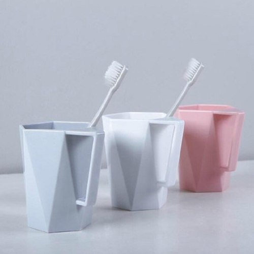 330ml Creative Geometric Solid Color Coffee Cup Milk Juice Desk Cup Beer Mug With Handle Brush Cup Environmental Protection